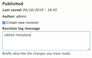 "Drupal 8 Sample Revision Log Entry, ""added metadata"""