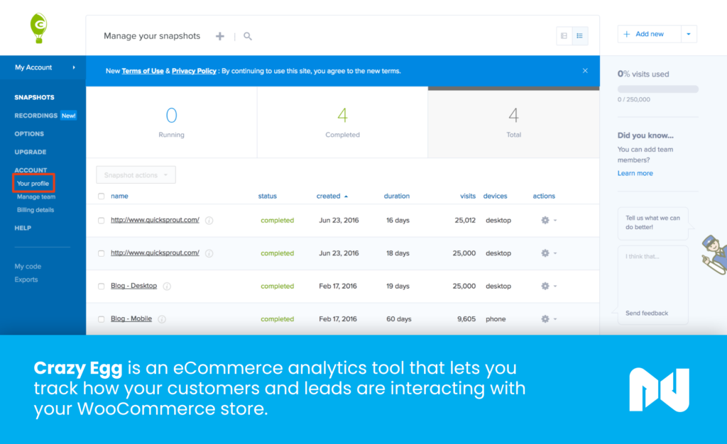 Crazy Egg is an ecommerce analytics tool that lets you track how your customers and leads are interacting with your store.