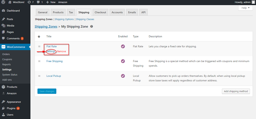 Edit shipping method in WooCommerce